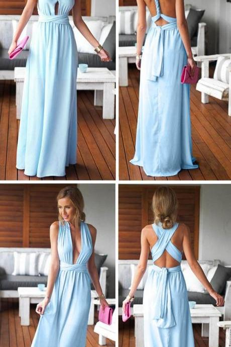 Backless Prom Dress,Maxi Prom Dress,Pleated Prom Dress,Fashion Prom Dress,Sexy Party Dress, New Style Evening Dress