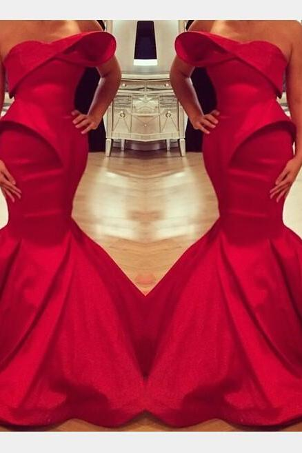 Red Prom Dress,Mermaid Prom Dress,Satin Prom Dress,Fashion Prom Dress,Sexy Party Dress, New Style Evening Dress