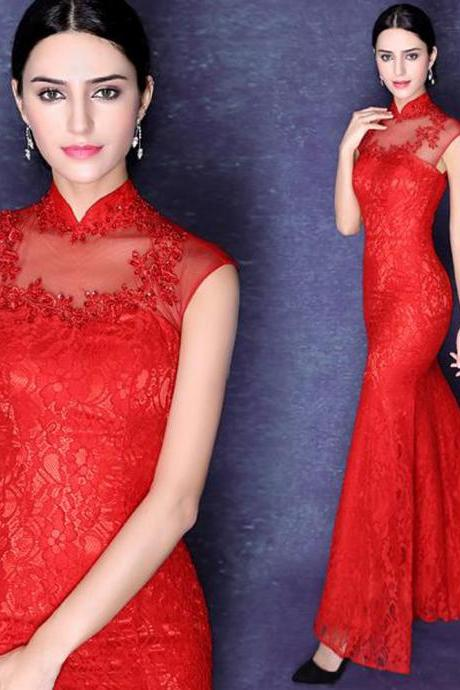 Lace Prom Dress,Mermaid Prom Dress,Red Prom Dress,Fashion Prom Dress,Sexy Party Dress, New Style Evening Dress