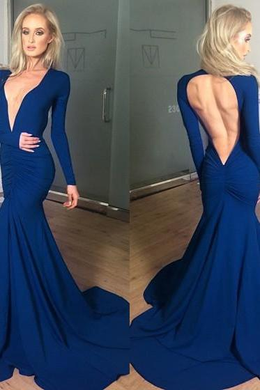 Backless Prom Dress,Mermaid Prom Dress,Long Sleeve Prom Dress,Fashion Prom Dress,Sexy Party Dress, New Style Evening Dress