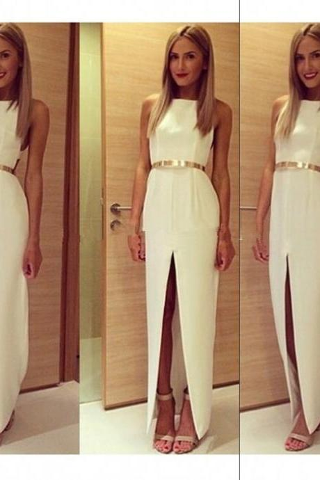 Split Prom Dress,White Prom Dress,Fashion Prom Dress,Sexy Party Dress, New Style Evening Dress