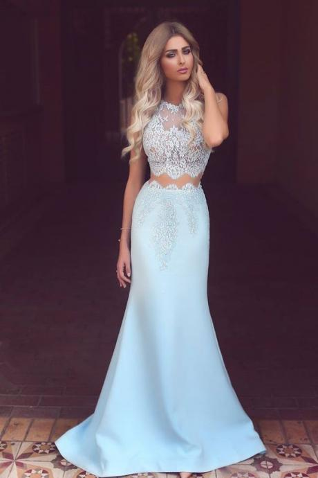 Lace Prom Dress,Mermaid Prom Dress,Two Pieces Prom Dress,Fashion Prom Dress,Sexy Party Dress, New Style Evening Dress
