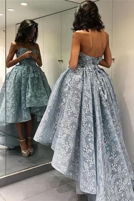 Backless Prom Dress,Lace Prom Dress,High Low Prom Dress,Fashion Prom Dress,Sexy Party Dress, New Style Evening Dress