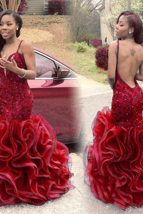 Red Prom Dress,Backless Prom Dress,Beaded Prom Dress,Fashion Prom Dress,Sexy Party Dress, New Style Evening Dress