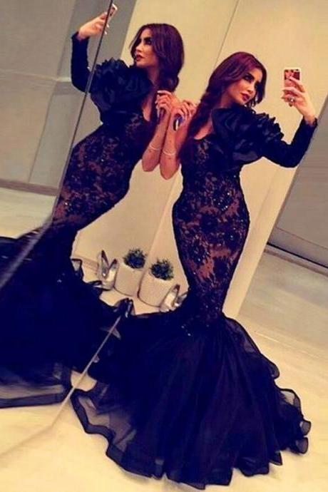Mermaid Prom Dress,Long Sleeve Prom Dress,Fashion Prom Dress,Sexy Party Dress, New Style Evening Dress
