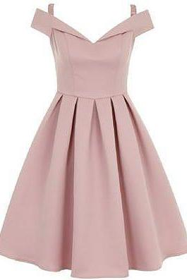 Pink Off-The-Shoulder Short A-Line Evening Dress