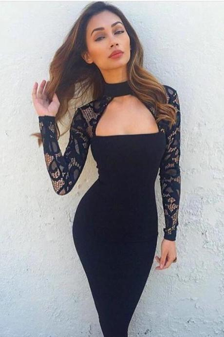 Black Prom Dress,Mermaid Prom Dress,Long Sleeve Prom Dress,Fashion Prom Dress,Sexy Party Dress,Custom Made Evening Dress
