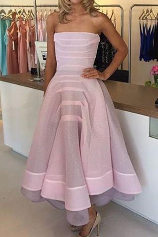 Pink Prom Dress,Strapless Prom Dress,Fashion Prom Dress,Sexy Party Dress,Custom Made Evening Dress