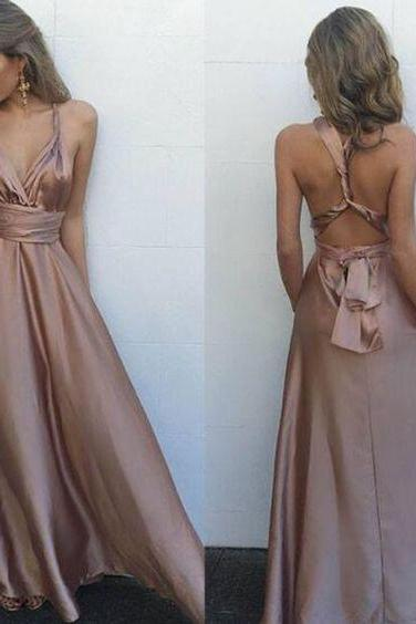 Backless Prom Dress,Satin Prom Dress,Fashion Prom Dress,Sexy Party Dress,Custom Made Evening Dress