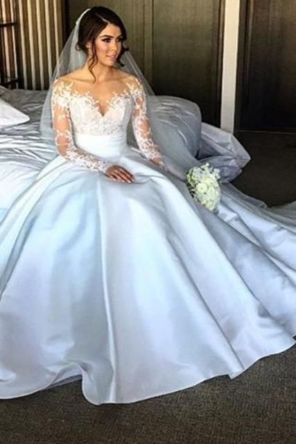 New Elegant Long Sleeve Appliques Taffeta Ball Gown Princess Wedding Dresses Bridal Gown
