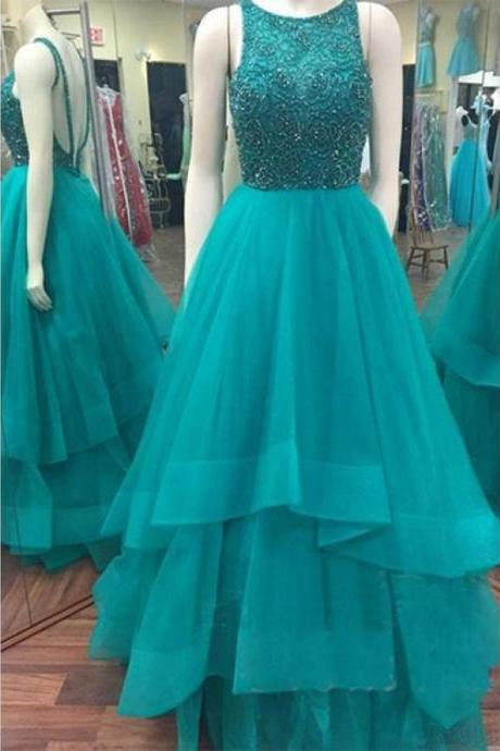 Backless Prom Dress,Beaded Prom Dress,Fashion Prom Dress,Sexy Party Dress,Custom Made Evening Dress