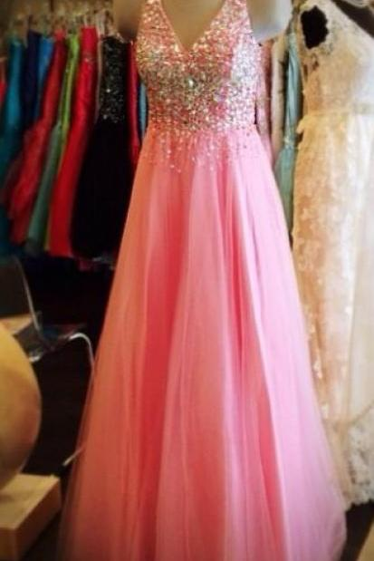 Pink Prom Dress,Beaded Prom Dress,Fashion Prom Dress,Sexy Party Dress,Custom Made Evening Dress
