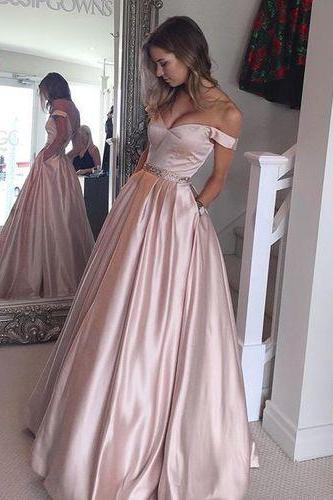 Pink Prom Dress,Off The Shoulder Prom Dress,Fashion Prom Dress,Sexy Party Dress,Custom Made Evening Dress