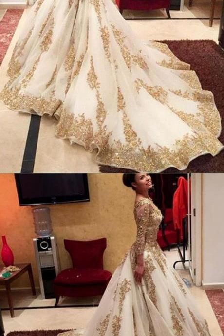 Modest Quinceanera Dress,Golden Applique Ball Gown,Fashion Prom Dress,Sexy Party Dress,Custom Made Evening Dress