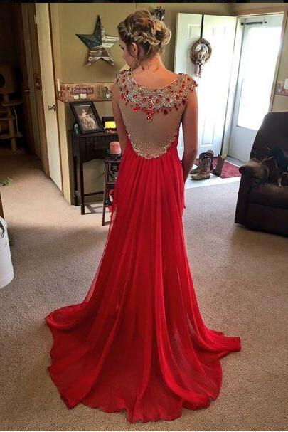 Red Prom Dress,Beaded Prom Dress,Fashion Prom Dress,Sexy Party Dress,Custom Made Evening Dress