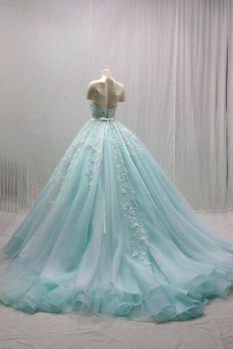 Blue Ball Gown,Appique Prom Dress,Backless Prom Dress,Fashion Prom Dress,Sexy Party Dress,Custom Made Evening Dress