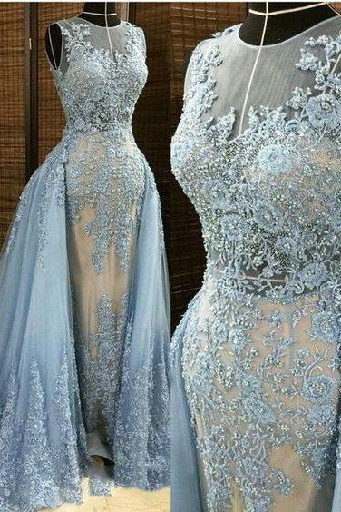 Lace Prom Dress with Train,Mermaid Prom Dress,Fashion Prom Dress,Sexy Party Dress,Custom Made Evening Dress