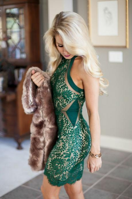 Green Prom Dress,Lace Prom Dress,Fashion Homecoming Dress,Sexy Party Dress,Custom Made Evening Dress