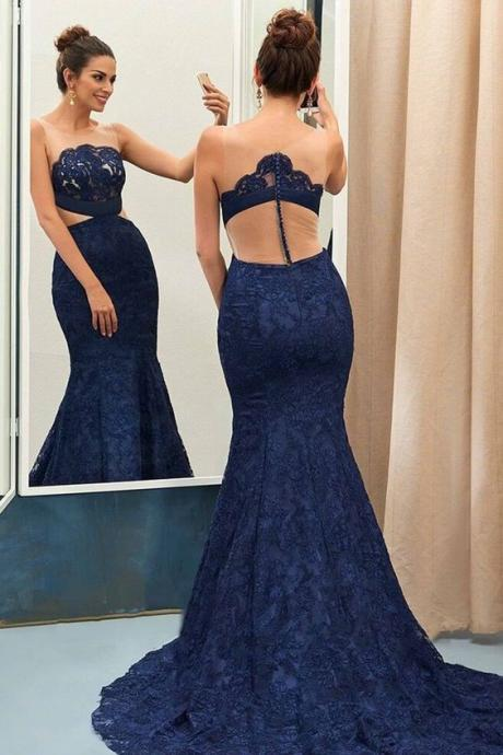 Lace Prom Dress,Mermaid Prom Dress,Fashion Prom Dress,Sexy Party Dress,Custom Made Evening Dress