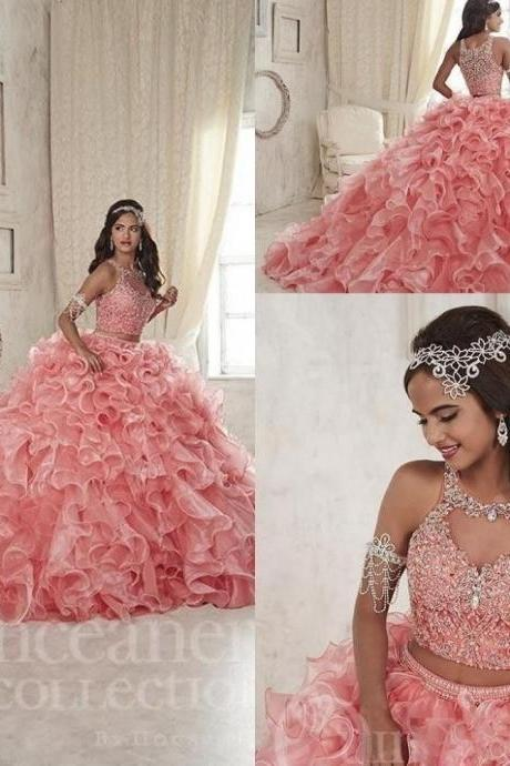 Modest Quinceanera Dress,Pink Ball Gown,Fashion Prom Dress,Sexy Party Dress,Custom Made Evening Dress