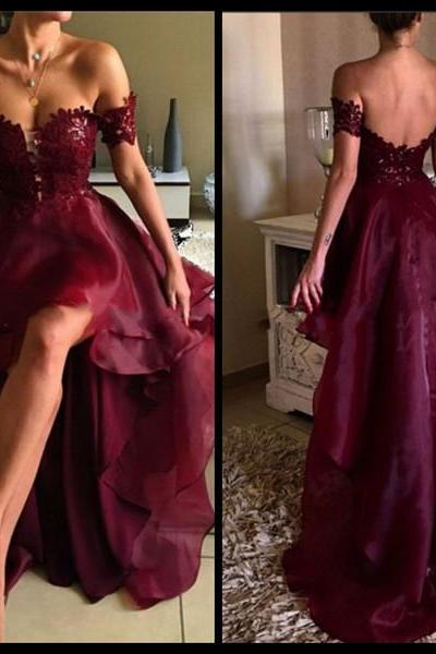 Burgundy Prom Dress,Backless Prom Dress,Fashion Homecoming Dress,Sexy Party Dress,Custom Made Evening Dress