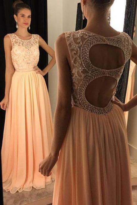 New Arrival Prom Dress,Stylish Round Neck Sleeveless Peach Open Back Prom Dress with Beading,Fashion Prom Dress,Sexy Party Dress,Custom Made Evening Dress
