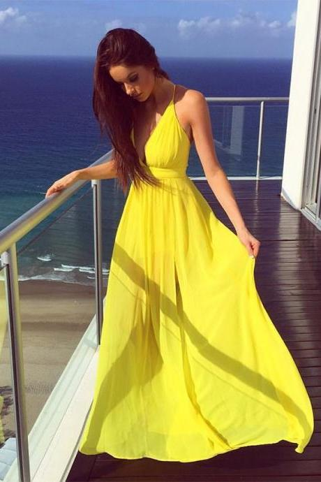 Yellow Prom Dress,Simple Prom Dress,Fashion Prom Dress,Sexy Party Dress,Custom Made Evening Dress