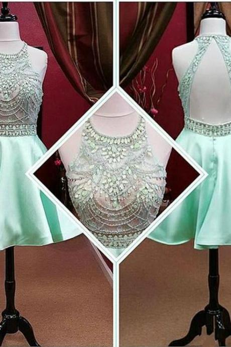 Mint Prom Dresses With Crystal Beads Jewel Neck Open Back Modest Homecoming Party Dress Gowns,Fashion Homecoming Dress,Sexy Party Dress,Custom Made Evening Dress