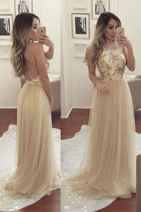 Backless Prom Dress,Tulle Prom Dress,Fashion Prom Dress,Sexy Party Dress,Custom Made Evening Dress
