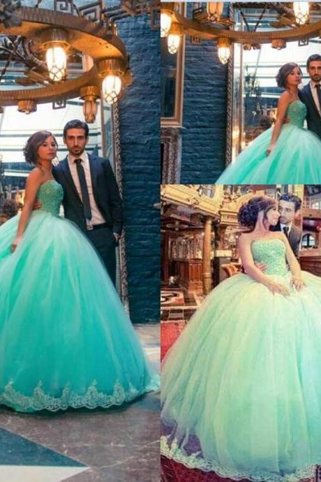 Modest Quinceanera Dress,Green Ball Gown,Fashion Prom Dress,Sexy Party Dress,Custom Made Evening Dress