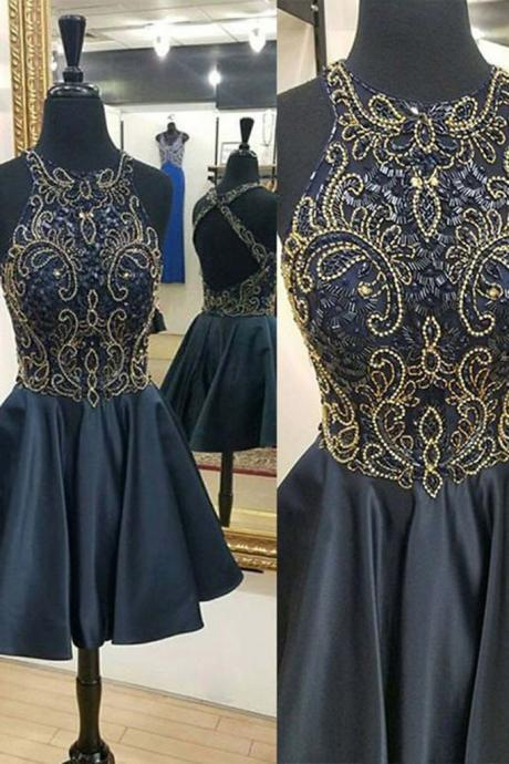 Black satins sequins beading round neck short dresses,Fashion Homecoming Dress,Sexy Party Dress,Custom Made Evening Dress