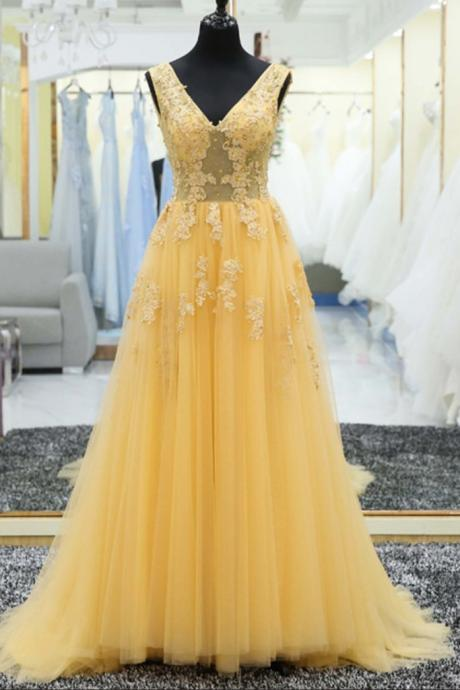 Yellow tulle lace applique V-neck long prom dress,Fashion Prom Dress,Sexy Party Dress,Custom Made Evening Dress