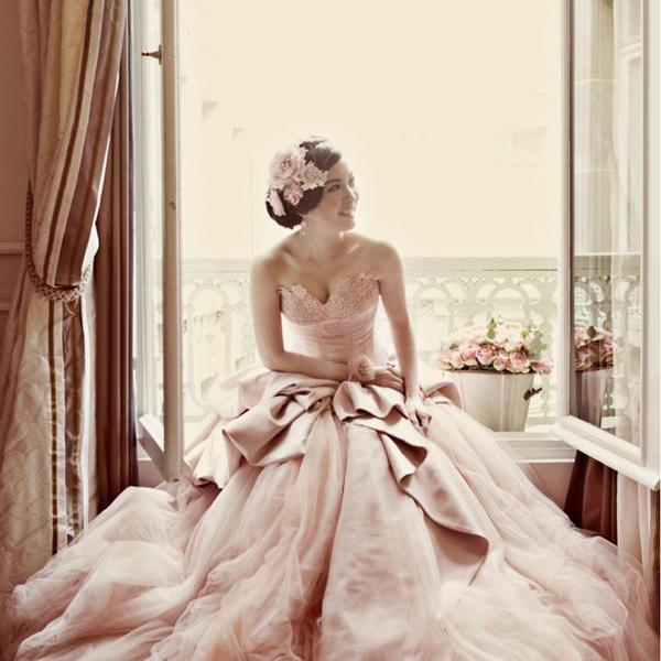 Sweetheart Bridal Ball Gown,Pink Prom Dress,Fashion Bridal Dress,Sexy Party Dress,Custom Made Evening Dress