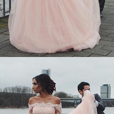 Sexy Off Shoulder Prom Dress, Pink Long Party Dress, Charming A-Line Evening Dress 51536