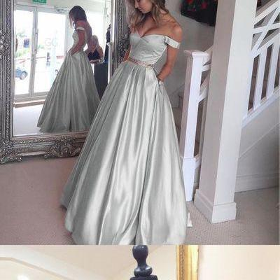Simple Off Shoulder Prom Dress, A line Long Dress, Stain Evening Dress 51537