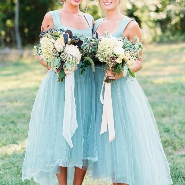 Chic Mint Green Bridesmaid Dress, Straps Asymmetrical Tulle Bridesmaid Dress 52442