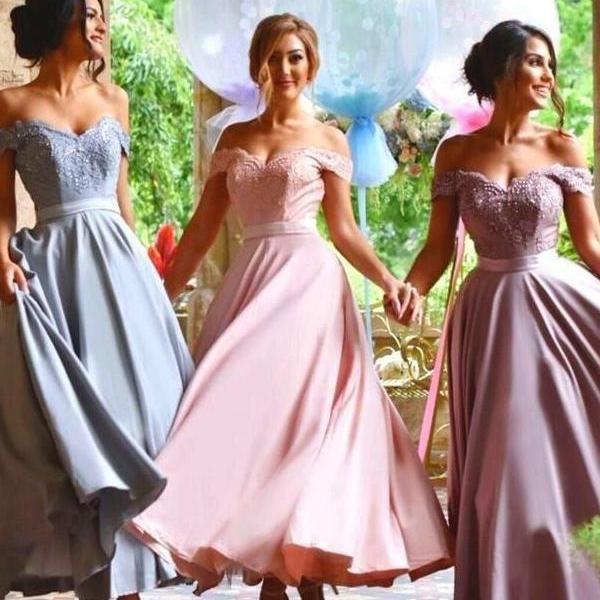 Off Shoulder Blue/Pink or Lavender Bridesmaid Dress 52443