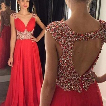 Backless Prom Dress,Beaded Prom Dress,Red Prom Dress,Fashion Prom Dress,Sexy Party Dress, New Style Evening Dress