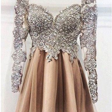 Beaded Prom Dress,Long Sleeve Prom Dress,Mini Prom Dress,Fashion Homecoming Dress,Sexy Party Dress, New Style Evening Dress