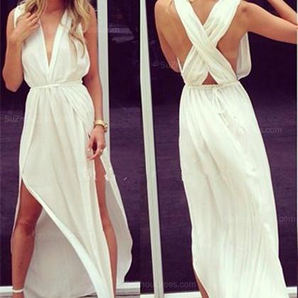 White Prom Dress,Split Prom Dress,Chiffon Prom Dress,Fashion Prom Dress,Sexy Party Dress, New Style Evening Dress