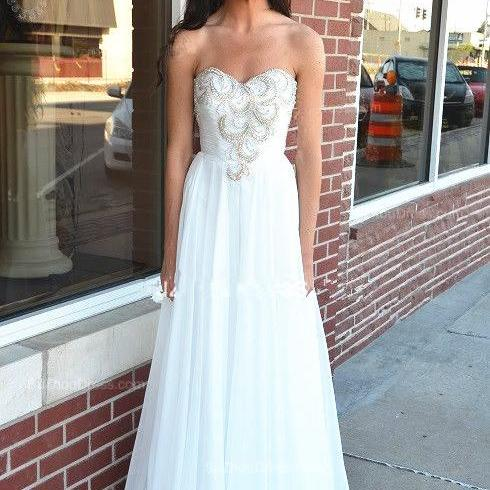 White Strapless Sweetheart Ruched Beaded A-line Long Prom Dress, Evening Dress