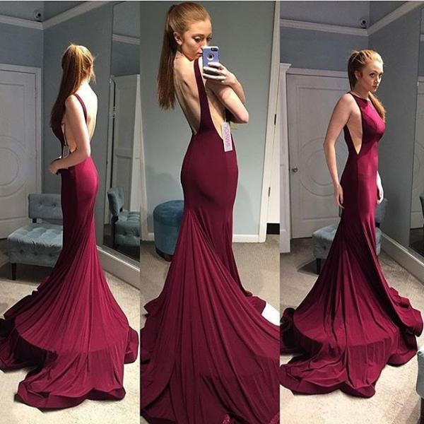 Backless Prom Dress,Burgundy Prom Dress,Mermaid Prom Dress,Fashion Prom Dress,Sexy Party Dress, New Style Evening Dress