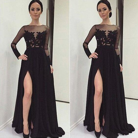 Lace Prom Dress,Split Prom Dress,Long Sleeve Prom Dress,Fashion Prom Dress,Sexy Party Dress, New Style Evening Dress