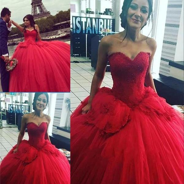 Beaded Prom Dress,Red Prom Dress,Sweetheart Prom Dress,Fashion Bridal Dress,Sexy Party Dress, New Style Evening Dress