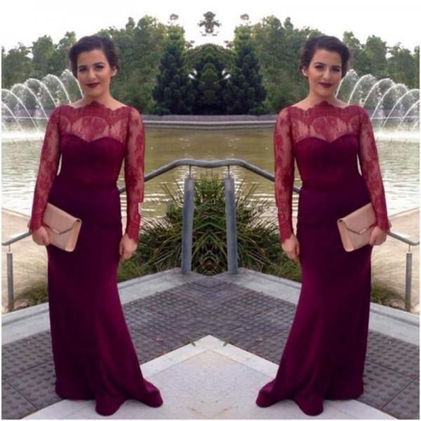 Lace Prom Dress,Sheath Prom Dress,Long Sleeve Prom Dress,Fashion Prom Dress,Sexy Party Dress, New Style Evening Dress