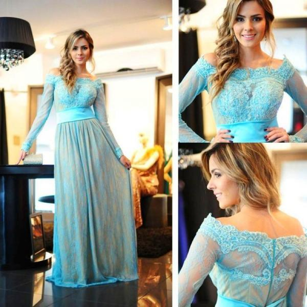 Lace Prom Dress,Blue Prom Dress,Long Sleeve Prom Dress,Fashion Prom Dress,Sexy Party Dress, New Style Evening Dress
