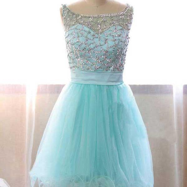 Tiffany Blue Prom Dress,Beaded Prom Dress,Fashion Homecoming Dress,Sexy Party Dress,Custom Made Evening Dress