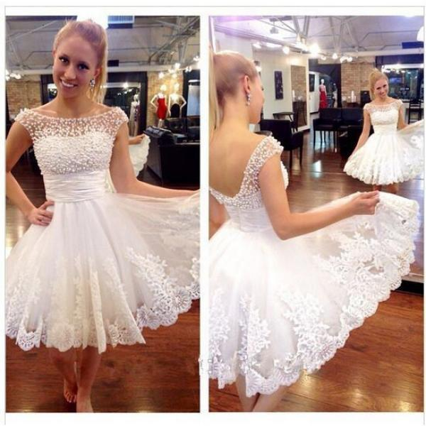 White Prom Dress,Beaded Prom Dress,Fashion Homecoming Dress,Sexy Party Dress,Custom Made Evening Dress