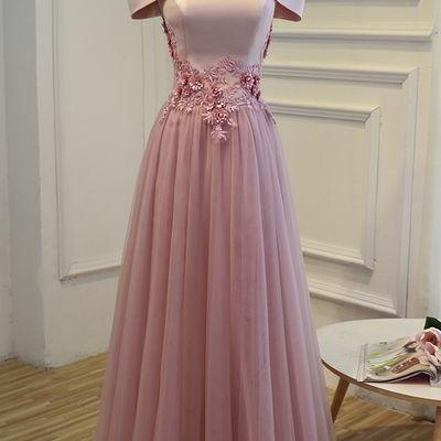 Pink Off the Shoulder Long Prom Dress,Fashion Prom Dress,Sexy Party Dress,Custom Made Evening Dress