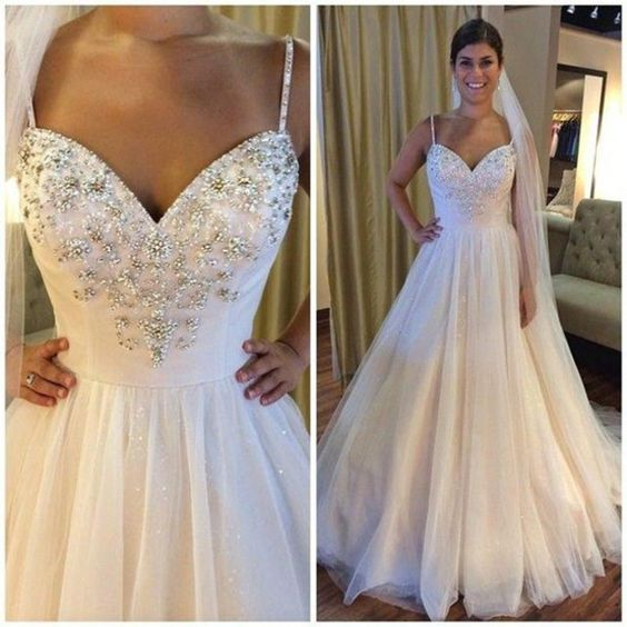 Sweetheart Beaded Wedding Dresess A Line Tulle Wedding Gowns,Fashion Bridal Dress,Sexy Party Dress,Custom Made Evening Dress